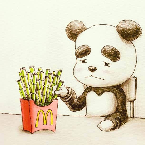 Японский художник рисует немного странные, но забавные иллюстрации об окружающем мире