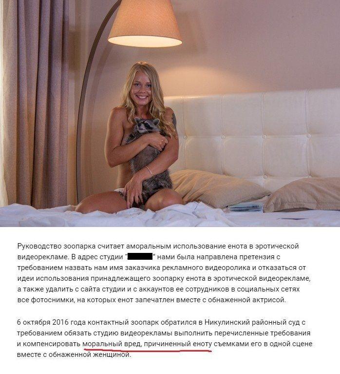 Московский зоопарк требует возместить моральный вред еноту, участвовавшему вэротической фотосесси