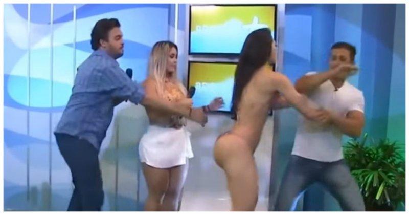 Бразильская модель вбикини ударила ведущего, схватившего еёзазадницу