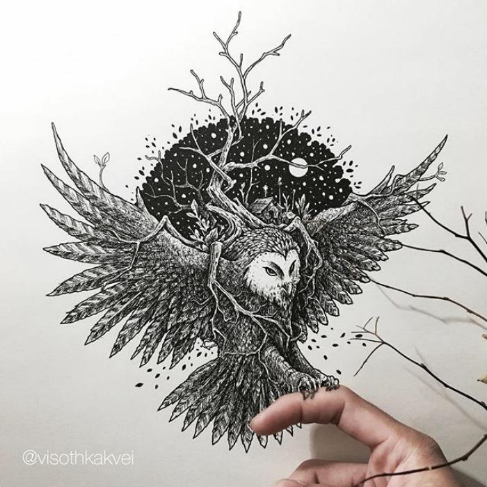 Я - художник из Камбоджи и умею рисовать 3D-картинки обычной ручкой!