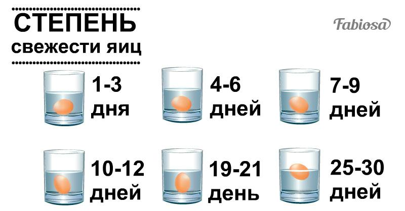 Вот что можно сказать о курином яйце по положению в стакане воды