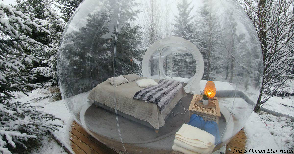 В Исландии можно спать в таких ″пузырях″ и смотреть на северное сияние
