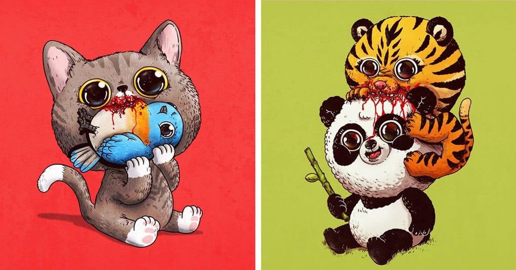 Художник рисует милые иллюстрации, которые наглядно показывают суровые законы животного мира