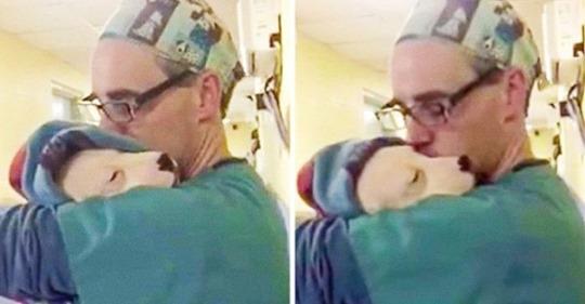 Испуганный щенок не мог перестать плакать, тогда доктор взял его на ручки