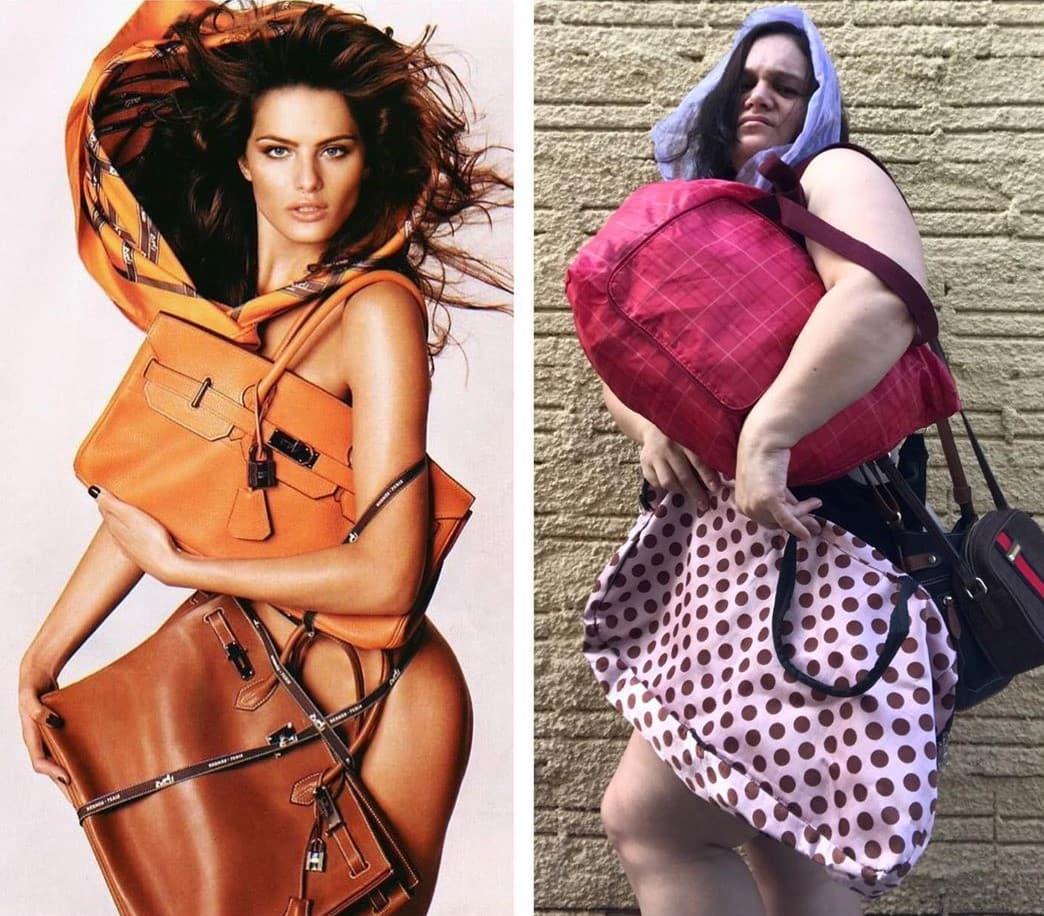 Бразильянка пародирует гламурные фото, с юморком показывая, как нелепо это смотрится в обычной жизни
