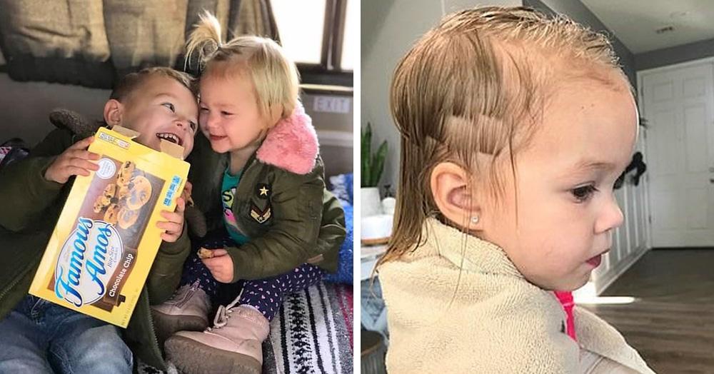 Трёхлетний мальчик подстриг младшую сестру, но она не в обиде. Её причёске теперь завидует даже мама