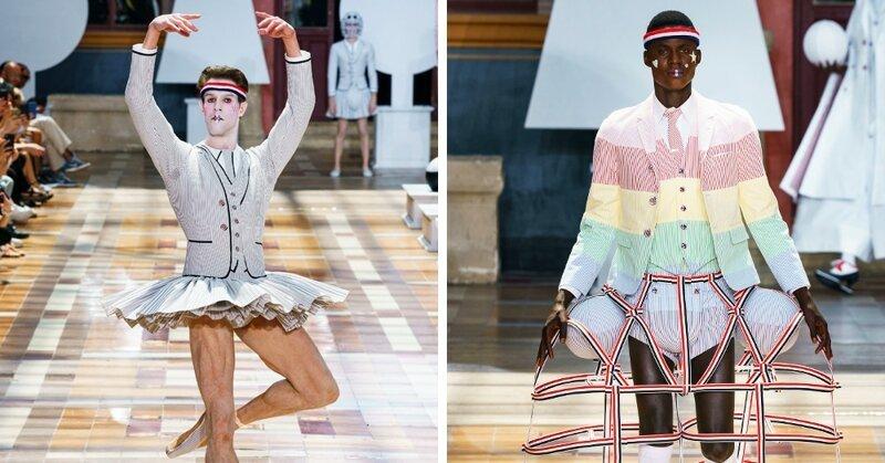 На Парижской неделе моды представлена мужская коллекция. Там есть юбки, платья, мячи и сумка такса