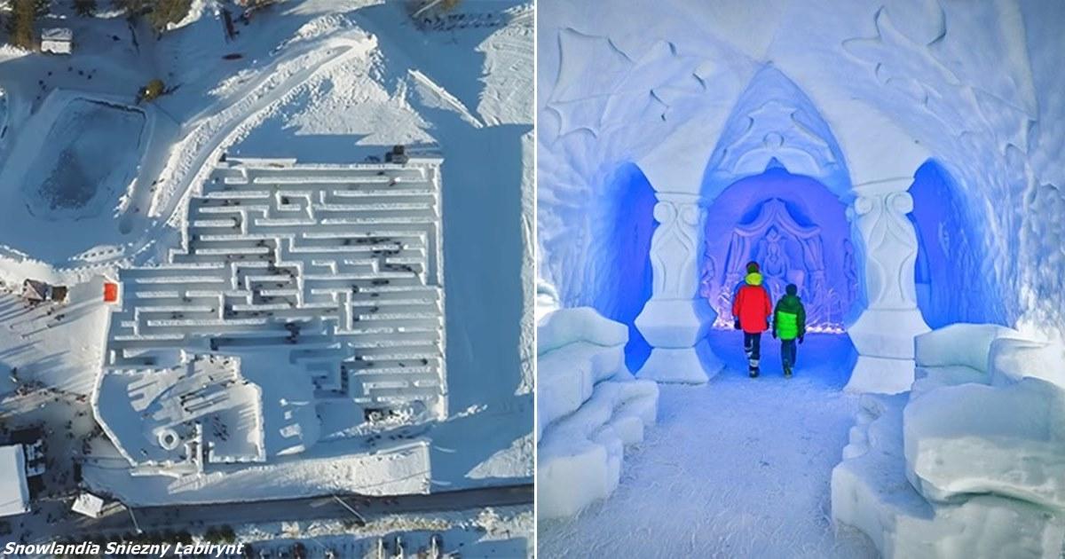 Снежный лабиринт в Польше выглядит как сказка — и он огромный