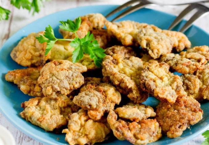 Рецепт необычных но очень вкусных отбивных из куриных сердечек