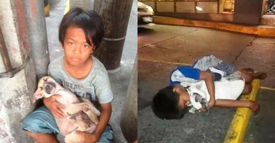 Снимок филиппинского мальчика, спящего в обнимку с собакой на улице, содрогнул весь мир