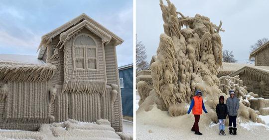 Шторм обрушился на прибрежный город в США и превратил местные дома в настоящие иглу, покрыв их слоем льда