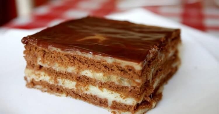Шоколадно банановый торт без выпечки за 15 минут