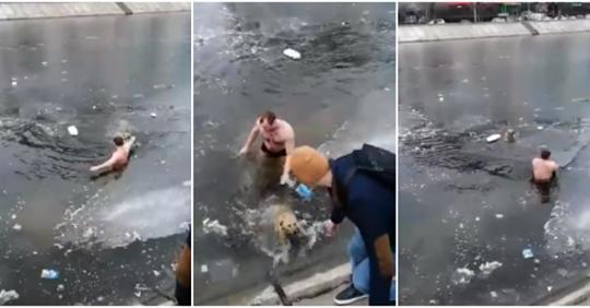 Мужчина прыгнул в ледяную реку за тонущей собакой