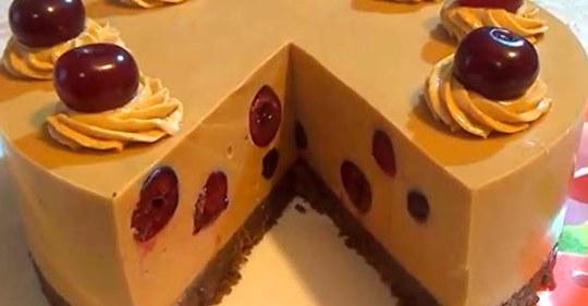 Рецепт изумительного торта крем-брюле с вишней без выпечки